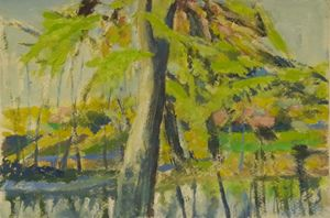 fall of the afternoon in Retiro Park - jose perlado-watercolors
