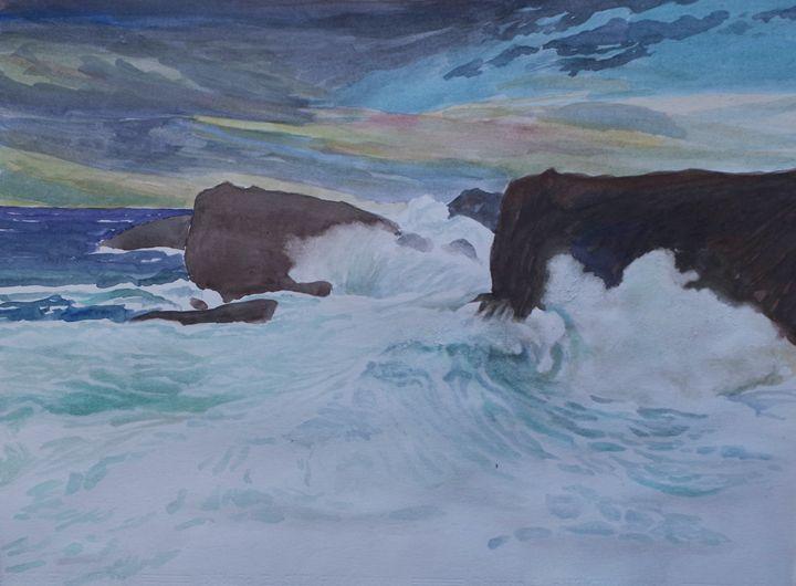 cliffs in Pendueles - jose perlado-watercolors