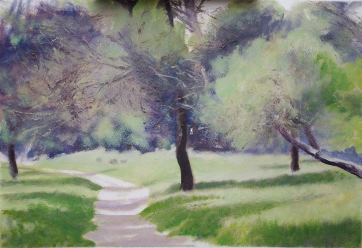 the path in the pinewood - jose perlado-watercolors