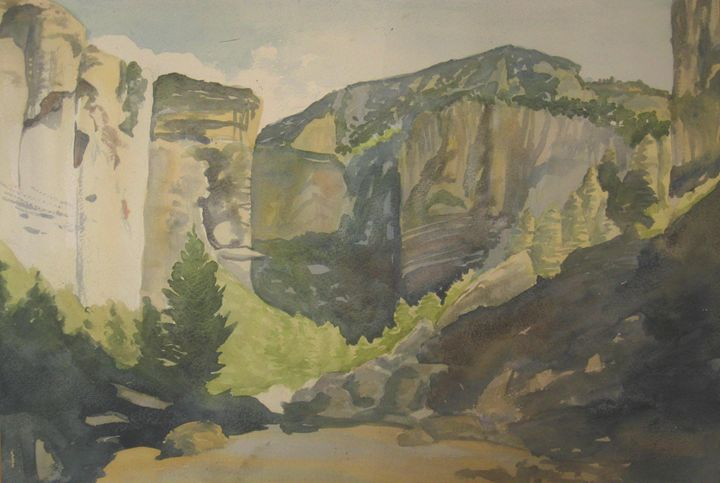 entrance into the gorge - jose perlado-watercolors