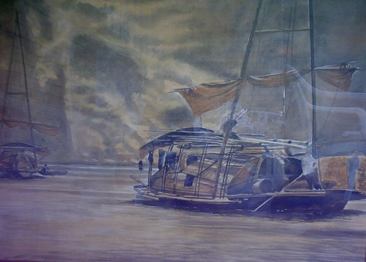 barges on the Yellow River - jose perlado-watercolors