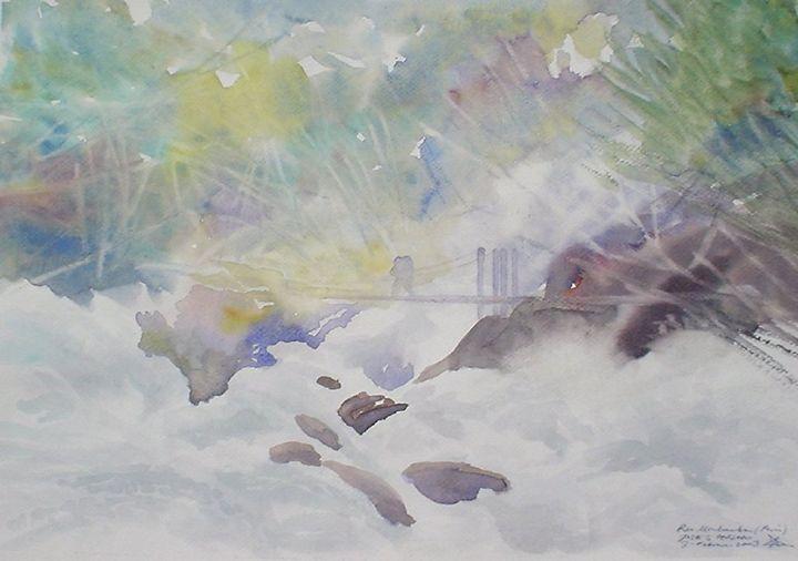 Urubamba river - jose perlado-watercolors