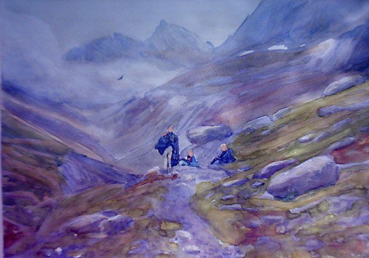 toward Serradets refuge - jose perlado-watercolors