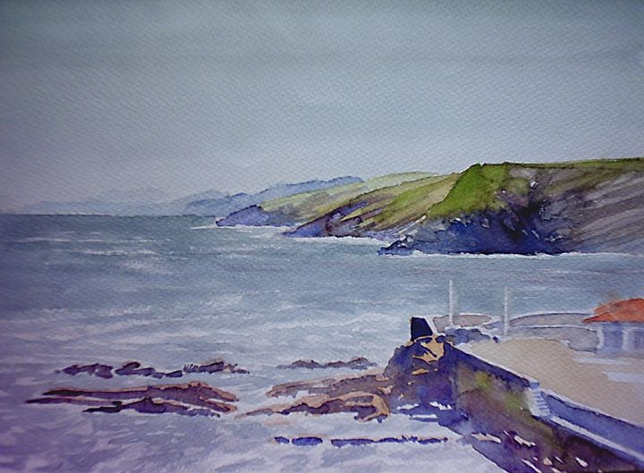 dock at Comillas, Spain - jose perlado-watercolors