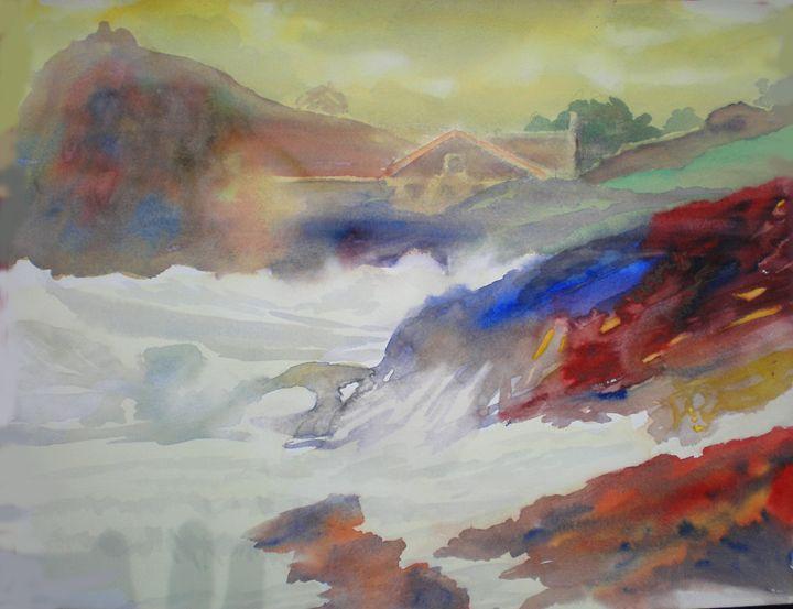 wooded sea at Comillas´s beach - jose perlado-watercolors