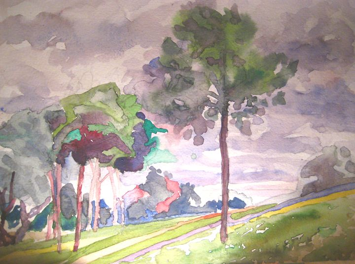 young pine trees in the park - jose perlado-watercolors
