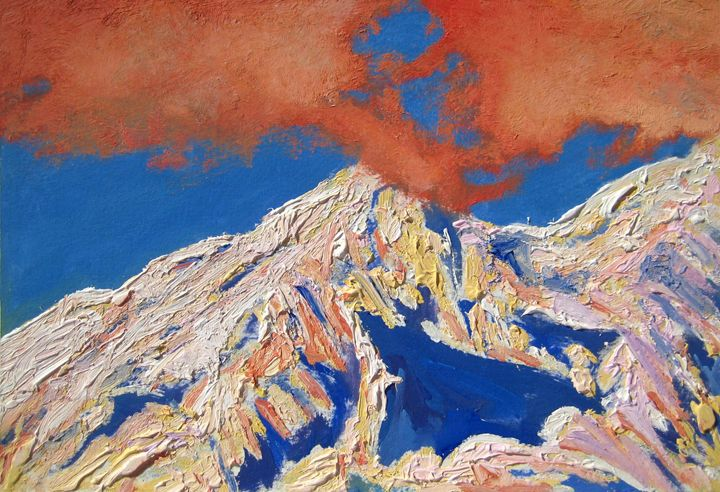 red clouds on the summits - jose perlado-watercolors