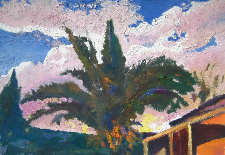 palm tree with pink clouds - jose perlado-watercolors