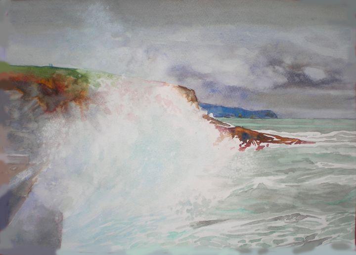 watching the stormy sea - jose perlado-watercolors