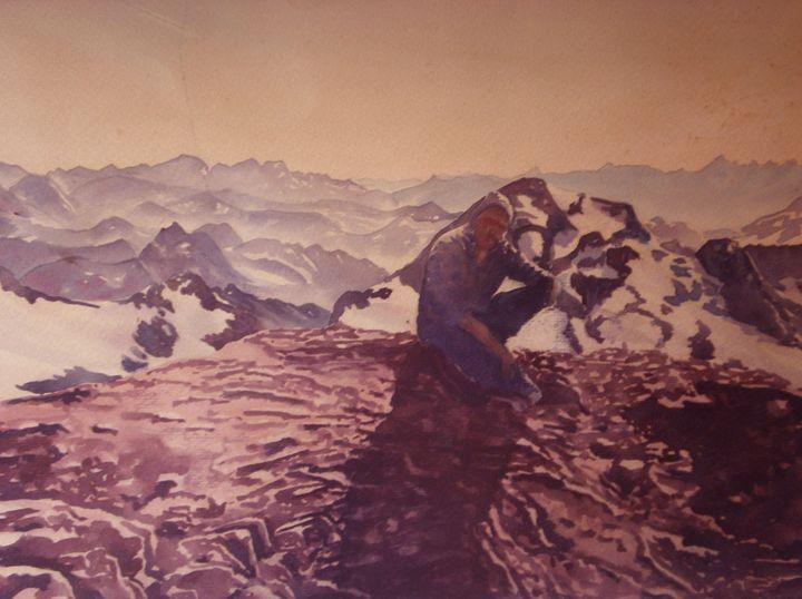 on the top of Marboré - jose perlado-watercolors