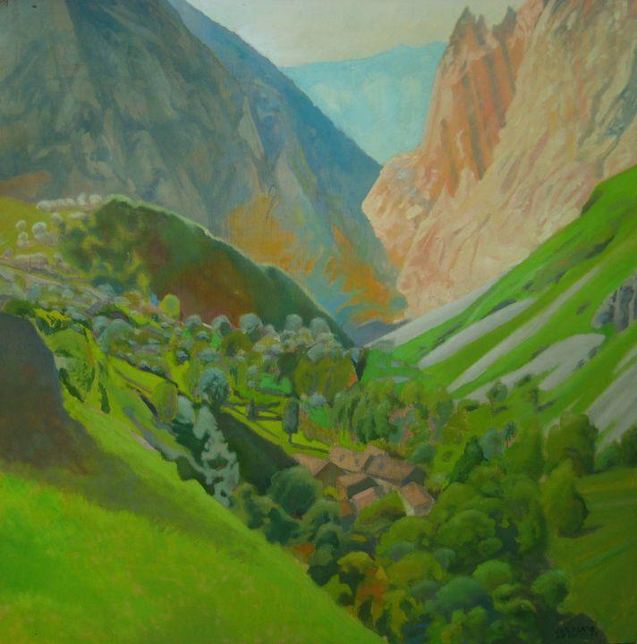 hamlet between  mountains - jose perlado-watercolors
