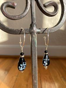 Black blown glass bead hoop earrings