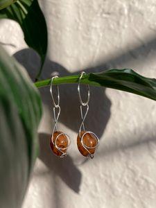Treble Clef stone earrings