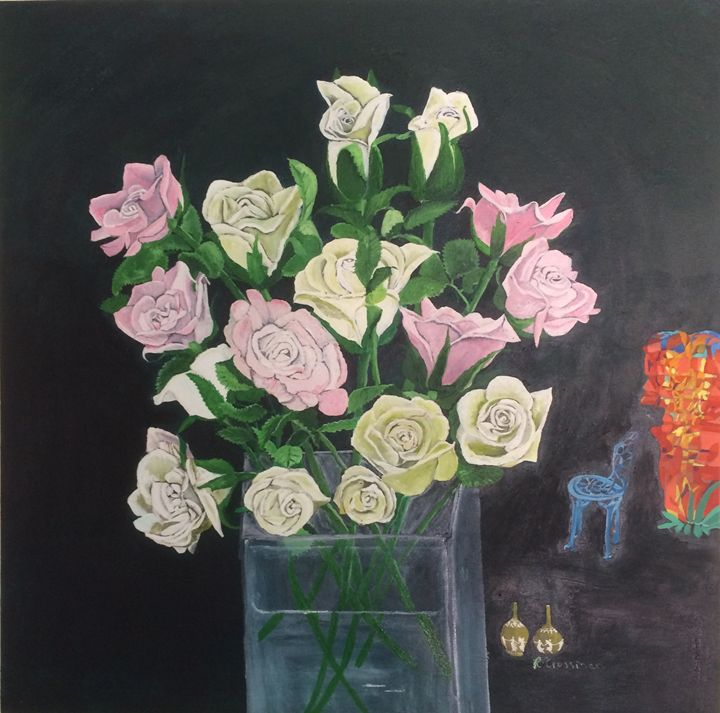"FLOWERS AND FIRE.  77X76CM, 30X30"" - rebecca"