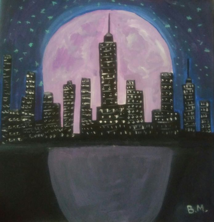 The City Under The Purple Moon - Ms Bee Art Collctions