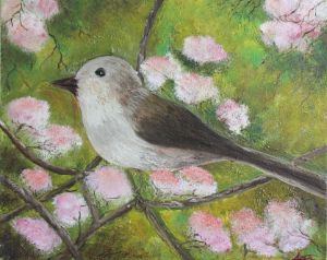 Bird and Pink Flowers
