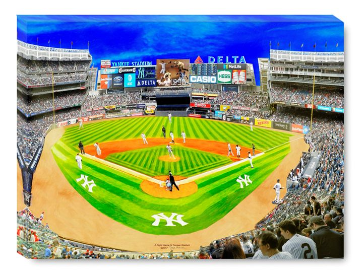 A night Game At Yankee Stadium - The Gallery Wrap Store