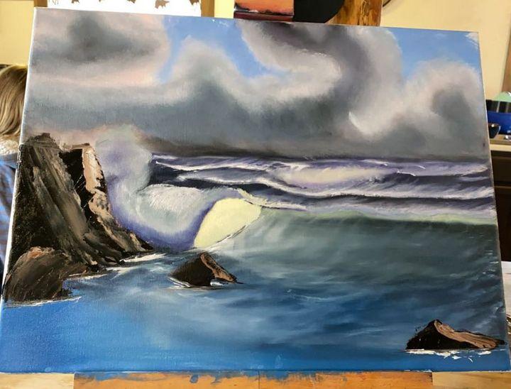 Rolling Wave - Original Boss Ross Inspired Oil paintings.