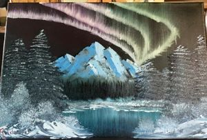 Northern Lights - Original Boss Ross Inspired Oil paintings.