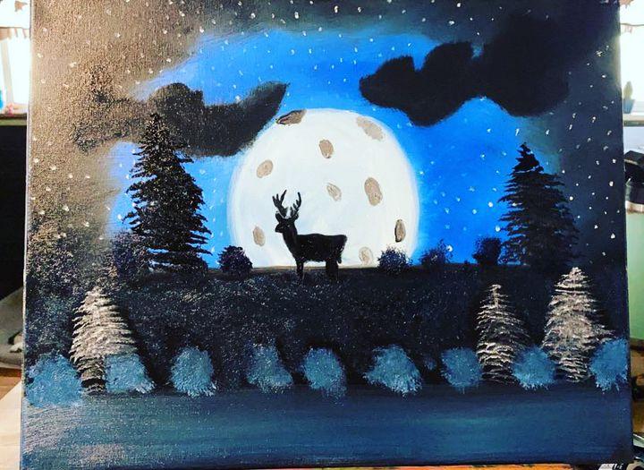 Deer in Moonlight - Original Boss Ross Inspired Oil paintings.