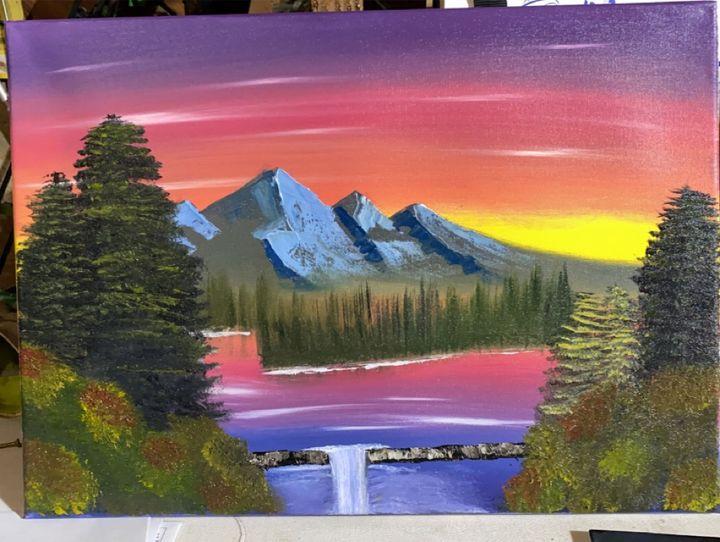 Rolling Log - Original Boss Ross Inspired Oil paintings.