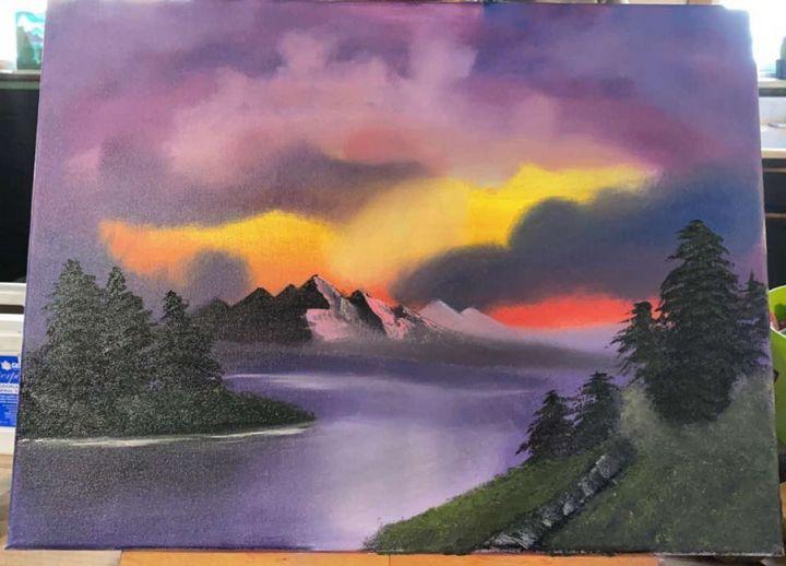 Sunset Algow - Original Boss Ross Inspired Oil paintings.