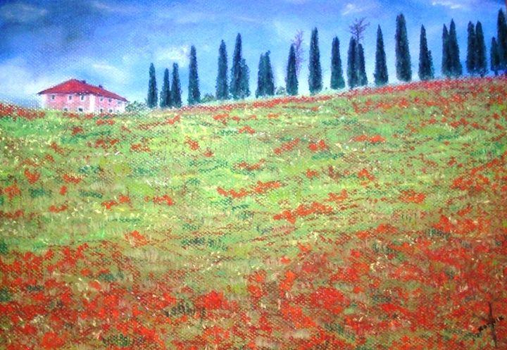 Poppy field Toscana - Igor Kotnik ArtGallery