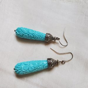 Azure Blue Classic Silver Earrings