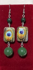 Olive Green Peacock Earrings