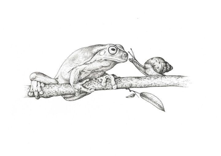 Frog and snail on a branch - Derzhansky