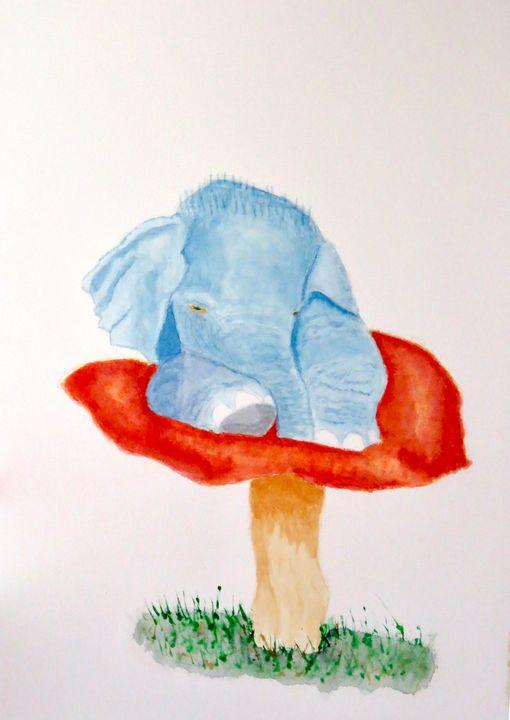 Baby Elephant resting on a Mushroom - Addison