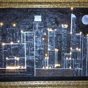 LA skyline at night - Original Art Works