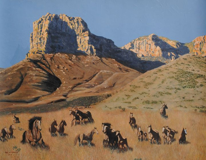 Horses at Guadalupe Mountains Nation - Paul Larson's Artwork