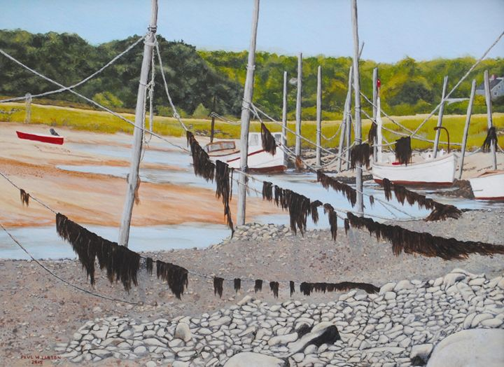 boats on mooring poles at low tide - Paul Larson's Artwork