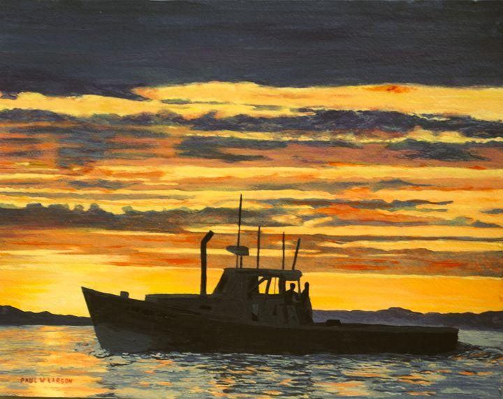 Lobster boat running at sunset - Paul Larson's Artwork