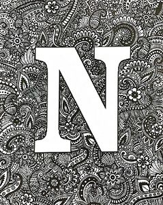 Zentangle art 'N'(Customization)