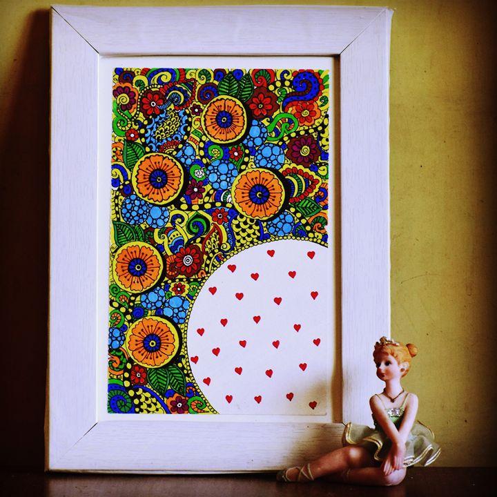 Colourful zentangle love - Artistic Meditation