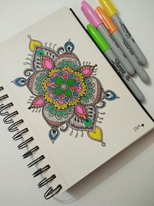 Colourful mandala - Zentangle love