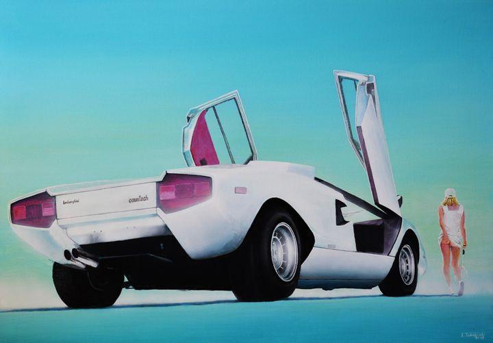 Lamborghini Countach LP400 - Paintings by Krzysztof Tanajewski