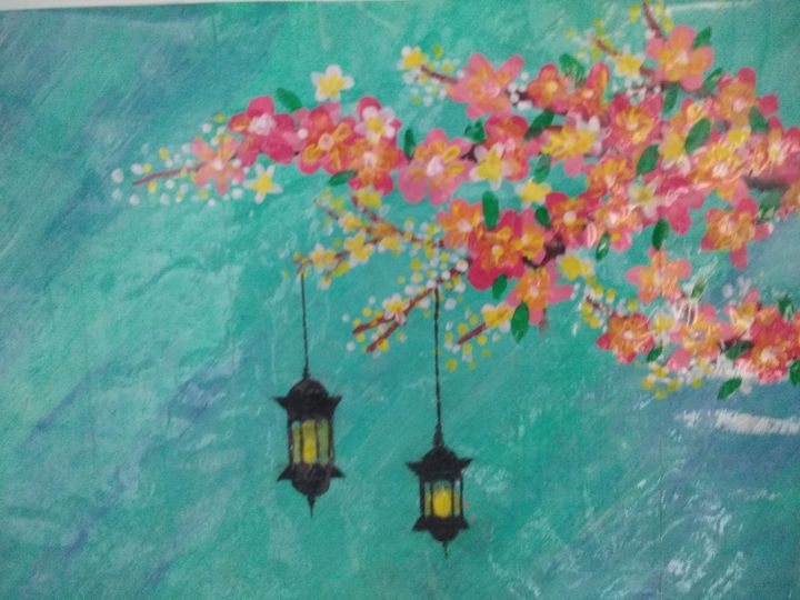 Beautiful lantern and flowers - United Colors of KKB's Art gallery