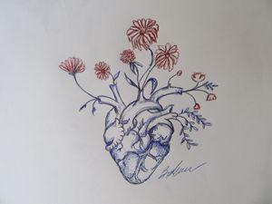 Garden Heart, red flowers