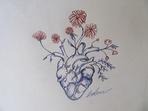 Garden Heart, red flowers