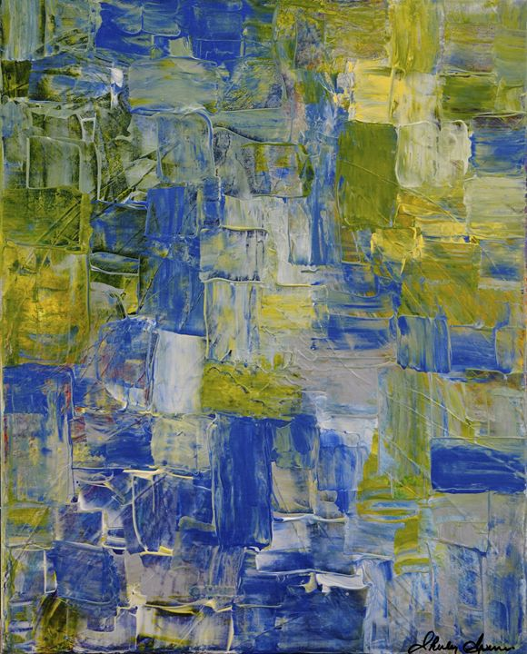 Abstract - Green/Blue/Silver - Shirley Spencer