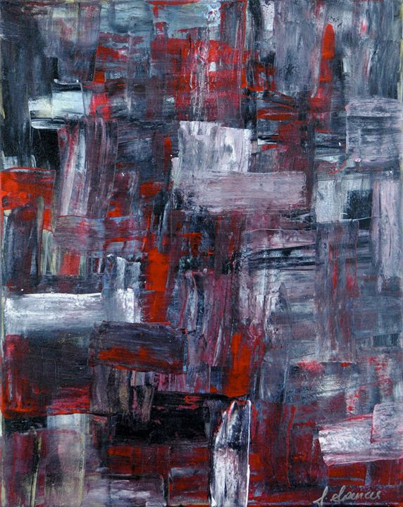 Abstract Red/Black/White/Silver - Shirley Spencer
