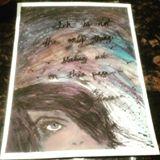 Watercolor girl looking at stars