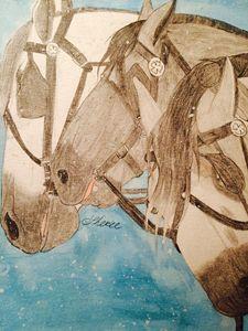 A three horse open sleigh