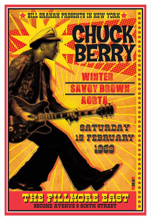 CHUCK BERRY Fillmore East 1969 - David Edward Byrd Posters