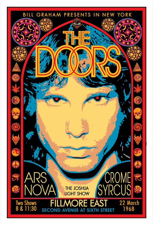 THE DOORS Fillmore East • 1968 - David Edward Byrd Posters