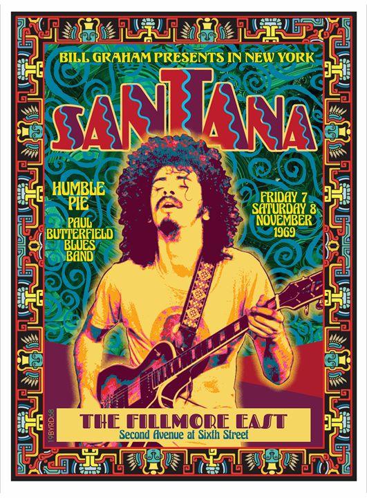 SANTANA at the FILLMORE EAST 1969 - David Edward Byrd Posters