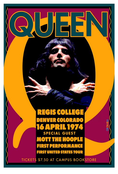 QUEEN Regis College Denver 1974 - David Edward Byrd Posters